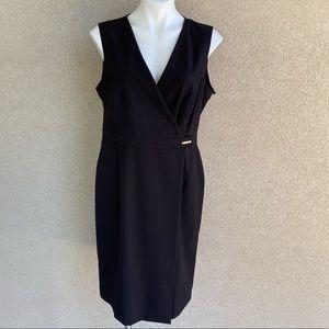 V Neck Sleeveless Little Black Wrap Dress